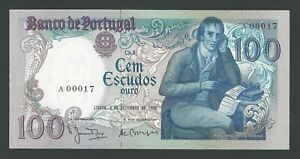 PORTUGAL ULTRA RARE 100 ESCUDOS 1980  LOW NUMBER, REPLACEMENT LETRE (A) UNC