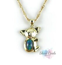 Australian Koala Opal Necklace Pendant / 18ct Gold Plated Sterling Silver Gift