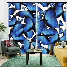 Blue Butterfly Pattern 3D Curtain Blockout Photo Printing Curtains Drape Fabric