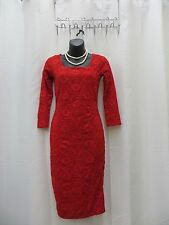 Lace Floral Red Dress ¾ Sleeve 10 NWT US 2 4 Mid Red 12 4 6