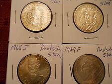 Germany Federal Republic 5 Mark silver coin lot 1966, 1967, 1968 & 1969