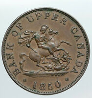 1850 UPPER CANADA Antique UK Queen Victoria HALF PENNY BANK TOKEN Coin i90538