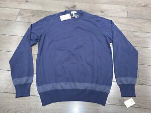 Extrafine Wool BRIONI Crew Neck Blue Gray Sweater Size 46 48 52 S M XL