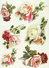 Rice Paper for Decoupage, Scrapbooking Sheet White and Red Roses