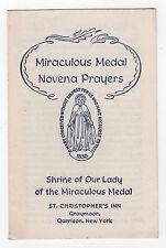 1943 MIRACULOUS MEDAL Novena Prayers Card PAMPHLET St Christopher's Inn Graymoor