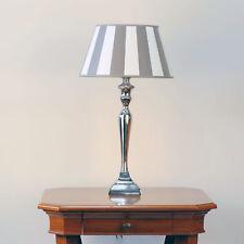 Tischleuchte Chrom Poliert Schirm Streifen Taupe 8210