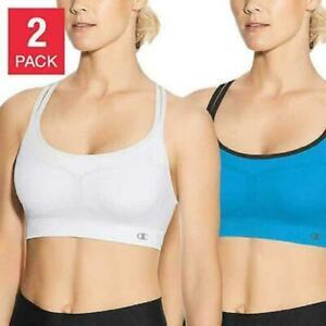 Champion Women's Criss Cross sports Bras Open box 2 pack (White/Blue) X-Large