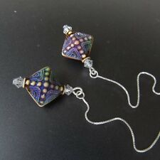 *SJ1* Color Changing Aurora Mood Bead Sterling Silver Threader Dangle Earrings