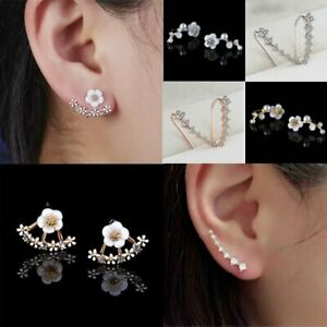 Gold Silver Pearl Shell Flower Ear Stud Earrings Charm Women Fashion Jewelry New