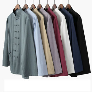 Men Traditional Chinese Tang Suit Jacket Coat Bruce Lee Kung Fu Wingchun Uniform