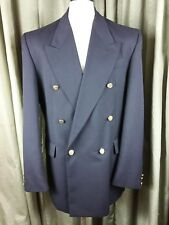 """BHS Wool Blend Navy Double Breasted Gold Button Blazer Jacket C40"""""""