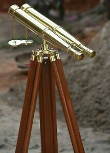"18"" Nautical Shiny Brass Antique Marine Binocular With Wooden Tripod Stand Decor"