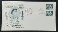 Ontario Canada First Day Cover, Definitive 1971 Coil Block of 2, Unaddressed