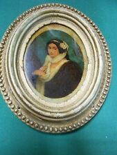 """Beautiful ANTIQUE Reverse Painting """" Victorian Lady """" Oval Wood Frame.....SALE"""