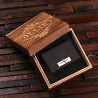Personalised Monogrammed Leather Business Cardholder w/ Optional Wooden Gift Box