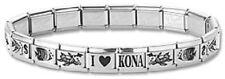 Italian Charm Bracelets Stainless Steel Silver Fish Modular Link I Heart Kona