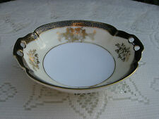 VTG BLACK WHITE CREAM GOLD GILT NORITAKE HANDLED TRINKET BON BON PIN DISH