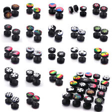 Lots 36pcs Mix Style Acrylic Skull Fake Ear Tunnels Screw Plugs Earlets Gauges