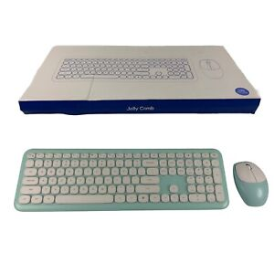 Jelly Comb Wireless Keyboard Mouse Quiet keys White Green Laptop PC Notebook