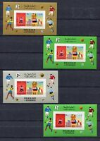 S5002) Sharjah 1970 MNH Wc Football - Cup Del Mondo Football S/S X 4 Imperf