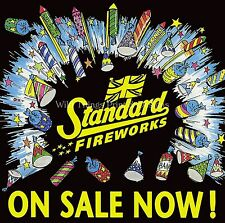 Funny RETRO METAL PLAQUE: Standard Fireworks on Sale Now sign/Advert