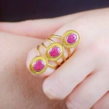 New Handcrafted Ruby Gemstones Cocktail Ring 18c Gold plated size 9 UK Size R