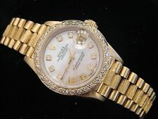 Lady Rolex 18K Yellow Gold Datejust President Bark w/MOP Diamond Dial 1ct Bezel