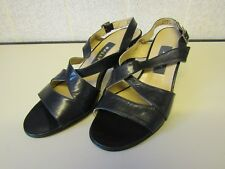BALLY Navy Blue Leather Strappy Sandals with Block Heel EU 36.5 Made in Italy