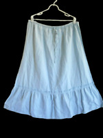NEW /Tag STEPHANIE ROGERS Pale Blue Maxi SKIRT Ruffle Hem Linen Blend Plus Sz 1X