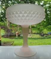 Indiana Glass Pink Satin Frosted Diamond Point Compote Footed Bowl