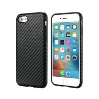 Motif Fibre de Carbone en cuir PU Protection Shell Case Apple iPhone 7 / Noir