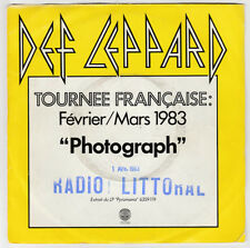 SP 45 TOURS DEF LEPPARD PHOTOGRAPH FRANCE HORS COMMERCE PROMO 6837 795 VERTIGO