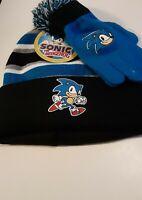 Sonic the Hedgehog Boys Beanie & Gloves Set Christmas Gift New Stripes Kids