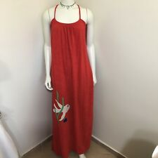 70s Authentic Vintage Ava Bergmans Red Terry Cloth Maxi Beach Dress M 4 6 8