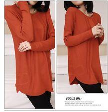 Caldo morbido maglione maglia pullover donna rosso girocollo misto lana 4245