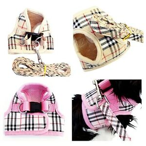 XXS XS Tartan Small Puppy Dog Harness Chihuahua Teacup Designer Coat +LEASH
