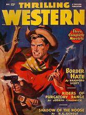 Thrilling Western Border Hate Vintage Cowboy Comic Book Cover Dime Novel Print