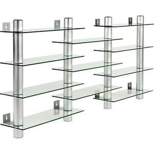 STILISTA Design Glas-Aluminium CD/DVD Regal Wandregal f. 300 CDs