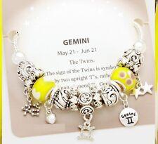 Gemini Bracelet Charm Multi Beaded Zodiac European Murano Glass Rope Chain