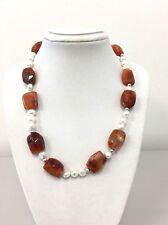"Cultured Freshwater Pearls and Carnelian gem Necklace 17"" 925 Sterling Silver"
