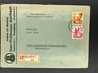 Alliierte Besetzung Franz. Zone Einschreiben Enkenbach n. Lebenstedt 1948