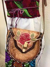 Mexican Floral Leather Bag NWOT,bohemian,Coachella, Frida