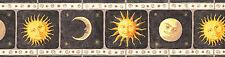 """MOON&SUN""-FRAMED-BORDER-BLACK BACKGROUND-6 3/4""HIGH-$9.00 PER ROLL-FREE S&H"