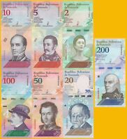 Venezuela Set 2 5 10 20 50 100 200 Bolivares 2018 UNC Banknotes