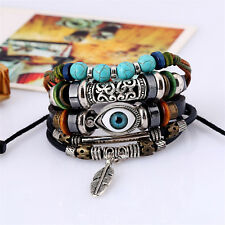 Mens Boys Adjustable Real Leather Bracelet Wristband Punk Cuff Beaded Wrap Gift