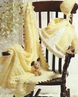 "Baby's Shawl, Matinee Jacket and Bonnet Knitting Pattern DK 16-20"" 1074"