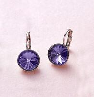 Swarovski Elements Purple Bella Earrings Gold Plated Dangle Earrings Lever-back