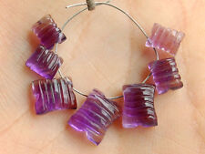 African Purple Amethyst Carved Cushion Briolette Semi Precious Gemstone Beads