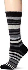 Hue Women's 2-Pack Flat Knit Stripe Black Socks One Size