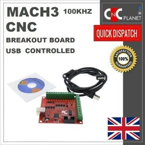 MACH3 100Khz USB CNC Breakout Board 4 Axis Interface Driver Motion Controller UK